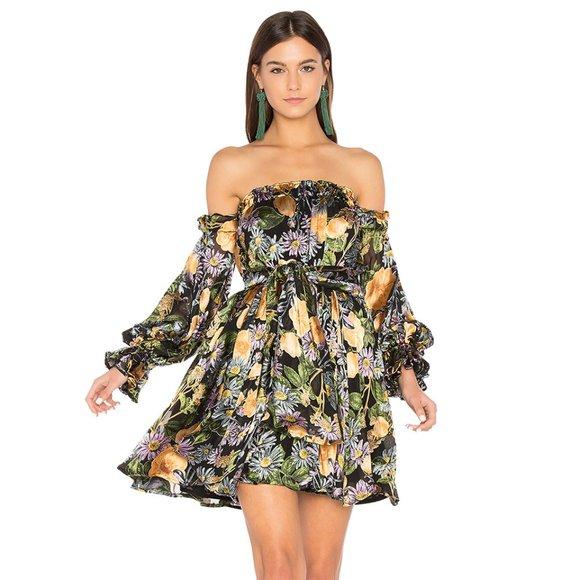 For Love /& Lemons Luciana Strapless Dress Black Floral Off Shoulder Silk